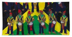 Beach Towel featuring the painting Twelve Drummers Drumming by Denise Weaver Ross