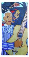 Beach Towel featuring the painting Twelve Strings by Denise Weaver Ross