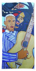 Beach Sheet featuring the painting Twelve Strings by Denise Weaver Ross