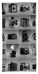 Twenty Old Cameras - Black And White Beach Towel