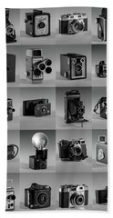 Beach Sheet featuring the photograph Twenty Old Cameras - Black And White by Art Whitton