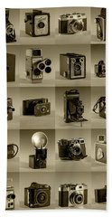 Beach Sheet featuring the photograph Twenty Old Cameras - Sepia by Art Whitton