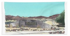 Beach Towel featuring the painting Twentynine Palms Welcome by Betsy Hackett