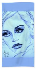 Twiggy In Blue Beach Towel