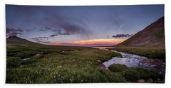 Beach Towel featuring the photograph Twilight Alpine Stream by Chris Bordeleau