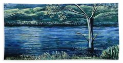 Twilight At The River Beach Towel