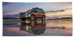 Twilight Beach Reflections And 4wd Car Beach Towel