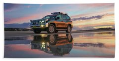 Twilight Beach Reflections And 4wd Car Beach Sheet