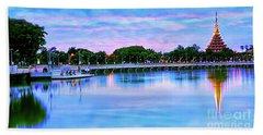 Twilight City Lake View Beach Towel