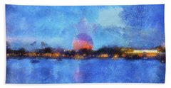 Twilight Epcot World Showcase Lagoon Wdw 02 Photo Art Mp Beach Towel
