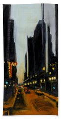 Twilight In Chicago Beach Towel