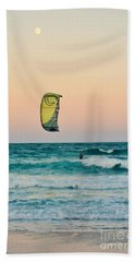Twilight Kite Surfer Under The Moon Beach Sheet