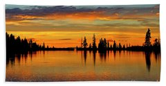 Twilight Lake Reflections In Colorado Beach Towel