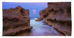 Twilight Moon Rising Over Hutchinson Island Beach Rocks Beach Towel by Justin Kelefas