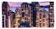 Twilight Over English Bay Vancouver Beach Towel