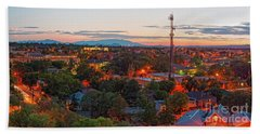 Twilight Panorama Of Downtown Santa Fe From Cross Of The Martyrs - New Mexico  Beach Towel