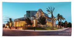 Twilight Panorama Of Tobin Center For The Performing Arts - Downtown San Antonio Texas Beach Towel