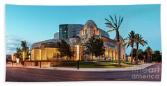 Twilight Panorama Of Tobin Center For The Performing Arts - Downtown San Antonio Texas Beach Towel