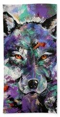 Twilight Purple Wolf Beach Towel