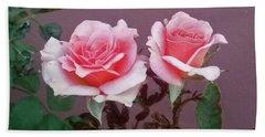 Twin Pink Roses Beach Towel