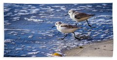 Beach Towel featuring the photograph Twin Plovers by Randy Bayne