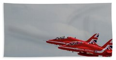 Twin Red Arrows Taking Off - Teesside Airshow 2016 Beach Towel by Scott Lyons