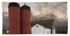 Beach Towel featuring the photograph Twin Silos by Robin-Lee Vieira