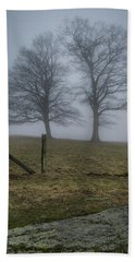 Twin Trees Late Fall Foggy Morning Beach Towel