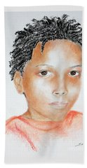 Twists, At 9 -- Portrait Of African-american Boy Beach Towel