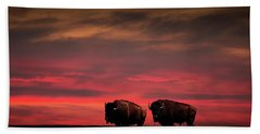 Two American Buffalo Bison At Sunset Beach Towel