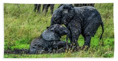 Two Baby Elephants Playing In The Mud Beach Towel