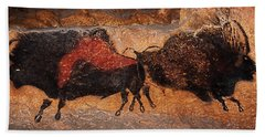 Two Bisons Running Beach Towel