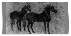 Two Black Chinese Horses Beach Towel