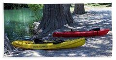 Beach Sheet featuring the photograph Two Canoes At Medina River by Ella Kaye Dickey