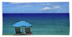Two Chairs And An Umbrella Beach Towel by James Eddy