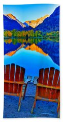 Two Chairs In Paradise Beach Towel by Scott Mahon