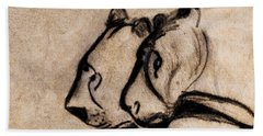 Two Chauvet Cave Lions - Clear Version Beach Towel
