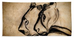 Two Chauvet Cave Lions Beach Towel