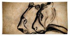 Two Chauvet Cave Lions Beach Sheet