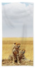 Two Cheetahs In Africa - Vertical With Copy Space Beach Towel