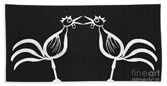 Two Crowing Roosters 2 Beach Towel by Sarah Loft
