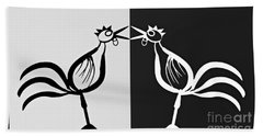 Two Crowing Roosters 3 Beach Towel by Sarah Loft