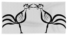 Two Crowing Roosters  Beach Sheet by Sarah Loft