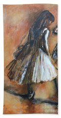 Beach Towel featuring the painting two dancers II after Degas by Jodie Marie Anne Richardson Traugott          aka jm-ART