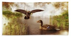 Two Ducks In A Pond Beach Towel