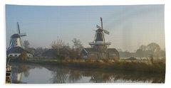Two Dutch Windmills In The Fog Beach Towel