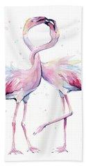 Two Flamingos Watercolor Famingo Love Beach Towel