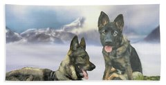 Beach Towel featuring the photograph Two German Shepherds by Janette Boyd and John Noyes