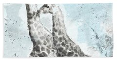 Two Giraffes- Art By Linda Woods Beach Towel by Linda Woods