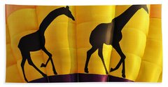 Two Giraffes Riding On A Hot Air Balloon Beach Towel
